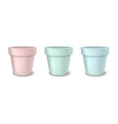 realistic empty flower pot set pastel vector image