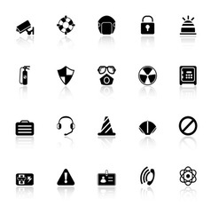 Safety icons with reflect on white background vector image vector image