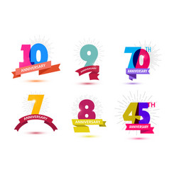 Set of anniversary numbers design 10 9 vector