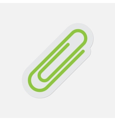 Simple green icon - paper clip vector