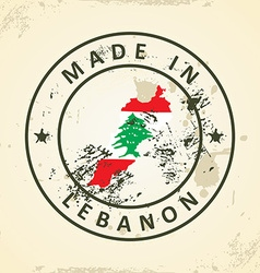 Stamp with map flag of Lebanon vector image