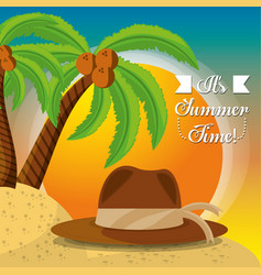 Summer hat over sand with a beautiful sunny beach vector