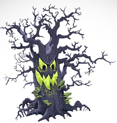 Terrible Halloween cartoon tree with a grin vector image