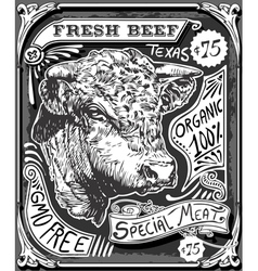 Vintage Beef Advertising Page on Blackboard vector image vector image