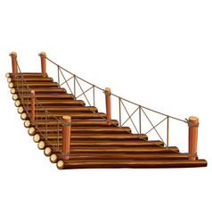 Wooden bridge with rope vector