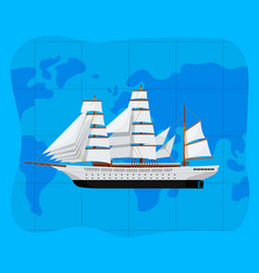 Worldwide sea traveling poster with big caravel vector
