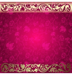 Vintage floral purple and gold frame vector