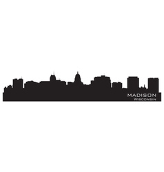 Madison wisconsin skyline detailed city silhouette vector