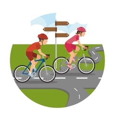 Road cyclists scenery icon vector