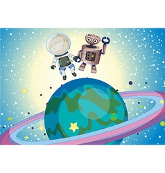 A boy and a robbot in the outer space vector image