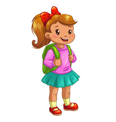 little cute girl with knapsack vector image