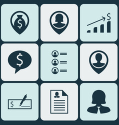 set of 9 hr icons includes job applicants money vector image
