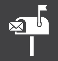 Mailbox solid icon letter and website vector
