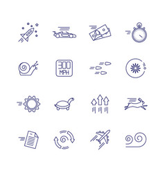 motion and speed linear icons slow and fast vector image