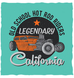 vintage hot rod t-shirt label design vector image