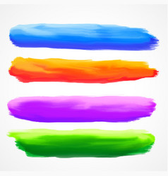 Real four watercolor brush stroke set vector