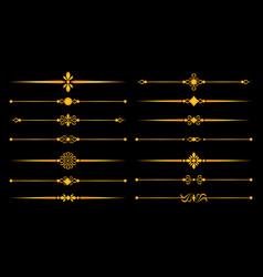 Gold ornaments lines vector