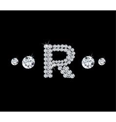 Diamond alphabetic letter R vector image