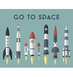 Rockets going to space flat design colored vector