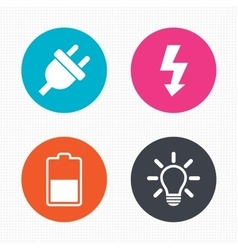 Electric plug sign Light lamp and battery half vector image