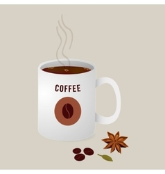 Hot cup of coffee with spices vector
