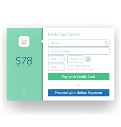 Modern user interface screen credit card payment vector