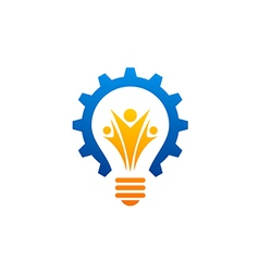 Light bulb gear people abstract industry logo vector
