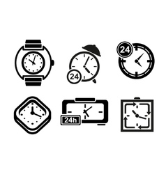 Clock and timer icons set vector