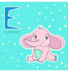 Alphabet letter e elephant children vector