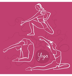 Set of yoga poses bright pink background vector