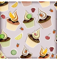 cupcakes fruits and berries vector image