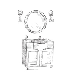 Bathroom interior elements mirror and washbasin vector