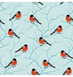 Winter seamless pattern Birds on a tree in vector image