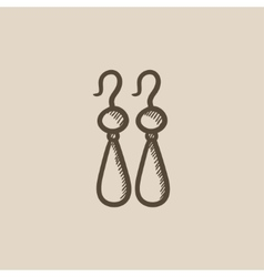 Pair of earrings sketch icon vector