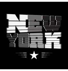 T shirt new york black white gray star vector
