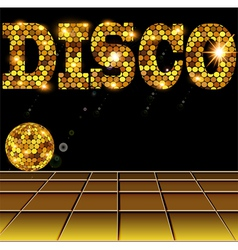 background with golden disco vector image vector image