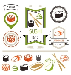Badges and labels set with various sushi vector