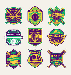 baseball professional league isolated label set vector image vector image