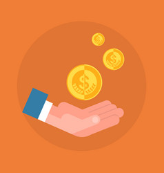 business man hand holding coin icon savings and vector image vector image