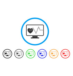 cardio monitoring rounded icon vector image