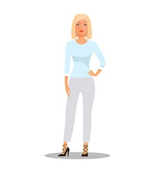 Cartoon Blonde Woman character isolated on white vector image vector image