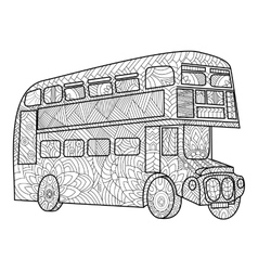 Double decker bus coloring book for adults vector