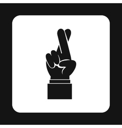 Fingers crossed icon simple style vector