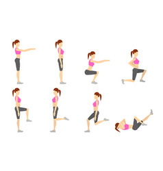 Girl dioing exercise on white background vector