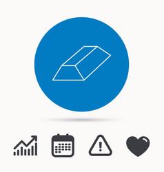 gold bar icon banking treasure sign vector image