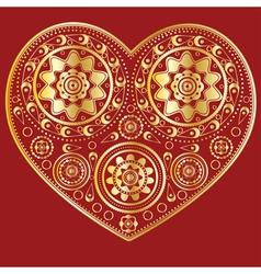 Gold ornamental heart vector image vector image