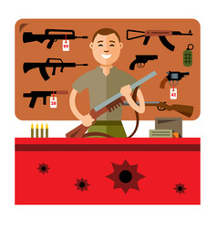 Gun shop flat style colorful cartoon vector