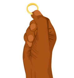 hand of african american man holding a gold ring vector image vector image