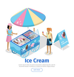 Ice cream trolley in isometric projection vector