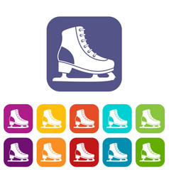 Ice skate icons set vector